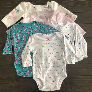 5pk! Carter's Baby Girl 3m long-sleeve tops/onsies